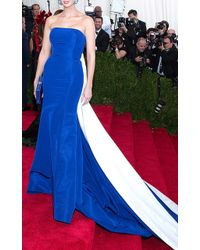 Prabal Gurung Strapless Gown With Colorblock Train - Lyst