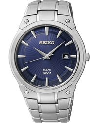 Seiko Mens Stainless Steel Round Watch With Navy Dial - Lyst