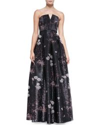 Alice + Olivia Kamila Printed Strapless Organza Gown - Lyst