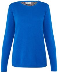 Chinti And Parker Blue Liberty Print Elbow Patch Cashmere Jumper - Lyst