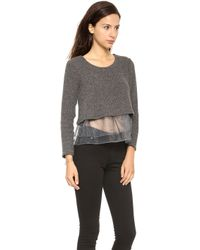 JOA Organza Frilled Wasy Sweater - Charcoal - Lyst