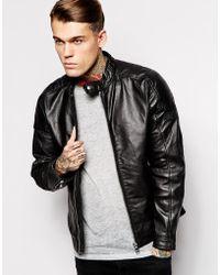 Diesel Leather Jacket L-Monike Biker - Lyst