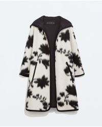 Zara Hooded Wool Cape - Lyst