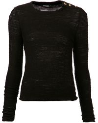 Balmain Long Sleeve Top - Lyst