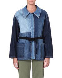 Etoile Isabel Marant Dani Patchwork Denim Jacket Blue - Lyst