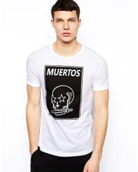 Asos Tshirt with Skull Print and Raglan Sleeves - Lyst