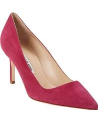 Manolo Blahnik Suede Bb Pumps - Lyst