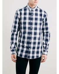 Topman Selected Homme White And Navy Check Shirt - Lyst