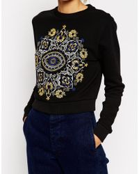 Asos Cropped Sweatshirt With Mirrored Embroidery - Lyst