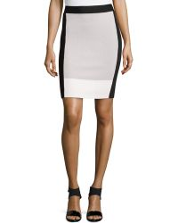 Halston Heritage Colorblock Sweater-knit Pencil Skirt - Lyst