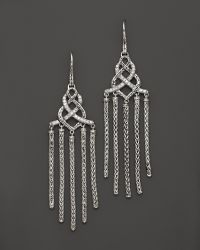 John Hardy Womens Classic Chain Silver Diamond Pave Chandelier Earrings - Lyst