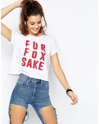 Asos Cropped Boyfriend T-Shirt With Fur Fox Sake - Lyst