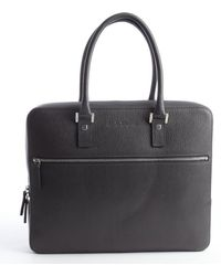 Ferragamo Dark Grey Textured Leather Top Handle Briefcase - Lyst