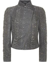 Alice + Olivia Jace Embellished Leather Moto Jacket - Lyst