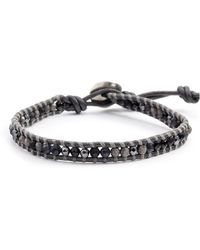 Chan Luu Black Stone Mix Single Wrap Bracelet On Gumnetal Leather - Lyst