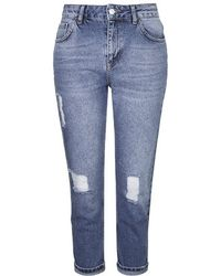 Topshop Petite Moto Ripped Mom Jeans - Lyst