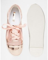 Lost Ink - Suri Toe Cap Lace Up Plimsoll Trainers - Lyst