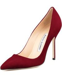 Manolo Blahnik Bb Suede 105mm Pump Claret Made To Order - Lyst