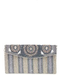 Big Buddha | Beaded Stripe Flap Clutch - Metallic | Lyst