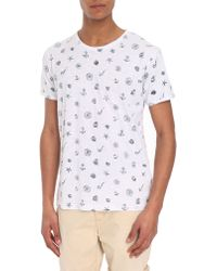 Selected White All-Over Print Round-Neck Short-Sleeve T-Shirt - Lyst