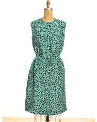 Sophie Hulme Drawstring Silk Midi Dress In Turquoise Leopard Frog Print - Last One By - Lyst