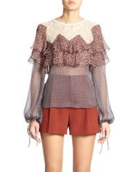 Chloé Guipure Lace-Trim Silk Chiffon Blouse red - Lyst