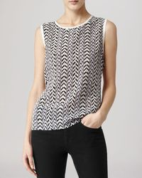 Reiss Top Kal Printed Silk Front - Lyst