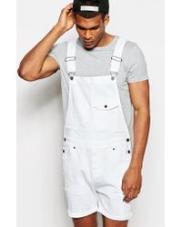 ASOS - Short Dungarees In White - Lyst