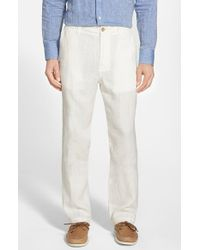 Tommy Bahama 'Summerland Keys' Flat Front Linen Pants white - Lyst