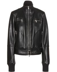 Alexander McQueen Black Leather Jacket - Lyst
