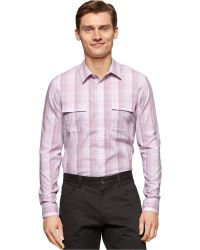 Calvin Klein Slub Ombre Plaid Shirt pink - Lyst