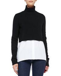 Elie Tahari Raleigh Cropped Mockneck Sweater - Lyst