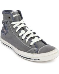 Diesel Magnet Exposure 1 Grey Canvas High Rise Sneakers gray - Lyst