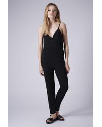 Topshop Womens Tall Wrap Front Jumpsuit  Black - Lyst