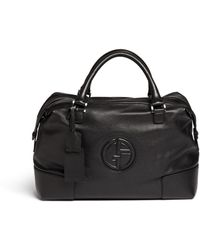 Armani - Logo Detail Leather Travel Bag - Lyst