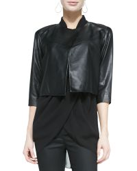 Eileen Fisher Cropped Drapey Leather Jacket - Lyst