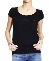Patrizia Pepe T-Shirt Half Sleeve Crew-Neck With Logo Rhinestone - Lyst