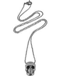 Philipp Plein - Black/Silver Tone Metal Skull Necklace W/Black Crystals - Lyst