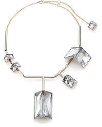 Lanvin 3D Geometric Jeweled Bib Necklace - Lyst