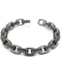 Zoppini | Zo-chain Stainless Steel And Black Enamel Link Bracelet | Lyst
