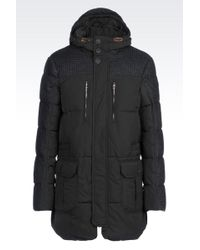Armani Jeans Down Jacket In Technical Fabric And Houndstooth Wool - Lyst