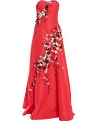Carolina Herrera Strapless Flower Embroidered Gown - Lyst