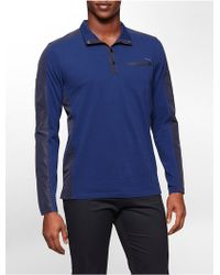 Calvin Klein White Label Classic Fit Partial Button Lightweight Shirt blue - Lyst