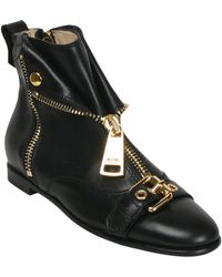 Moschino Leather Ankle Boots With Zip And Buckle - Lyst