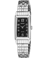 Seiko Womens Solar Stainless Steel Expansion Bracelet Watch 16mm Sup227 - Lyst