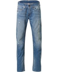 True Religion Blue Distressed Jeans - Lyst