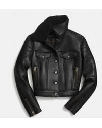 Coach Leather Biker Jacket - Lyst