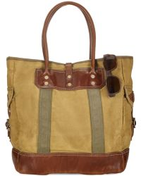 Polo Ralph Lauren Leather-Trimmed Canvas Tote - Lyst