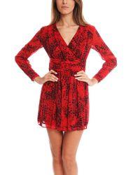 Balmain Red Print Dress - Lyst