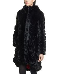 Patrizia Pepe Fake Fur Coat with Hood and Zip Fastening - Lyst